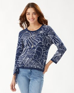Island Bloom Cotton Jacquard Tie Sweater