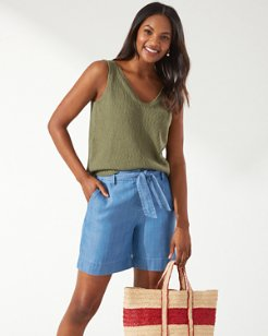 Water's Edge V-Neck Linen-Blend Tank Top