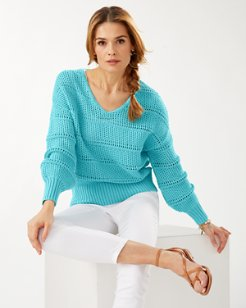 Channel Isle Cotton V-Neck Sweater