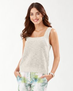 Sanibel Square-Neck Linen-Blend Sweater Tank
