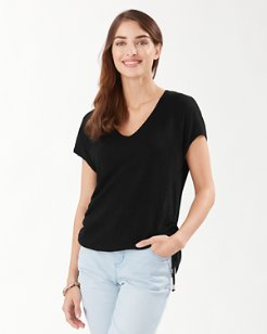 Alana Linen Side Tie V-Neck Sweater