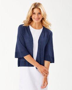 Lea Bell-Sleeve Linen Cardigan
