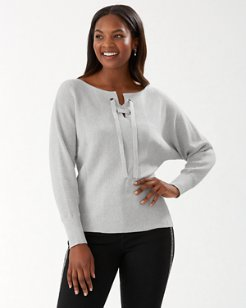 Shimmer Tie-Front Pullover Sweater