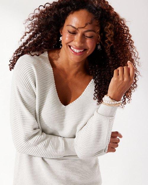 Bonita Sequin Ottoman V-Neck Sweater