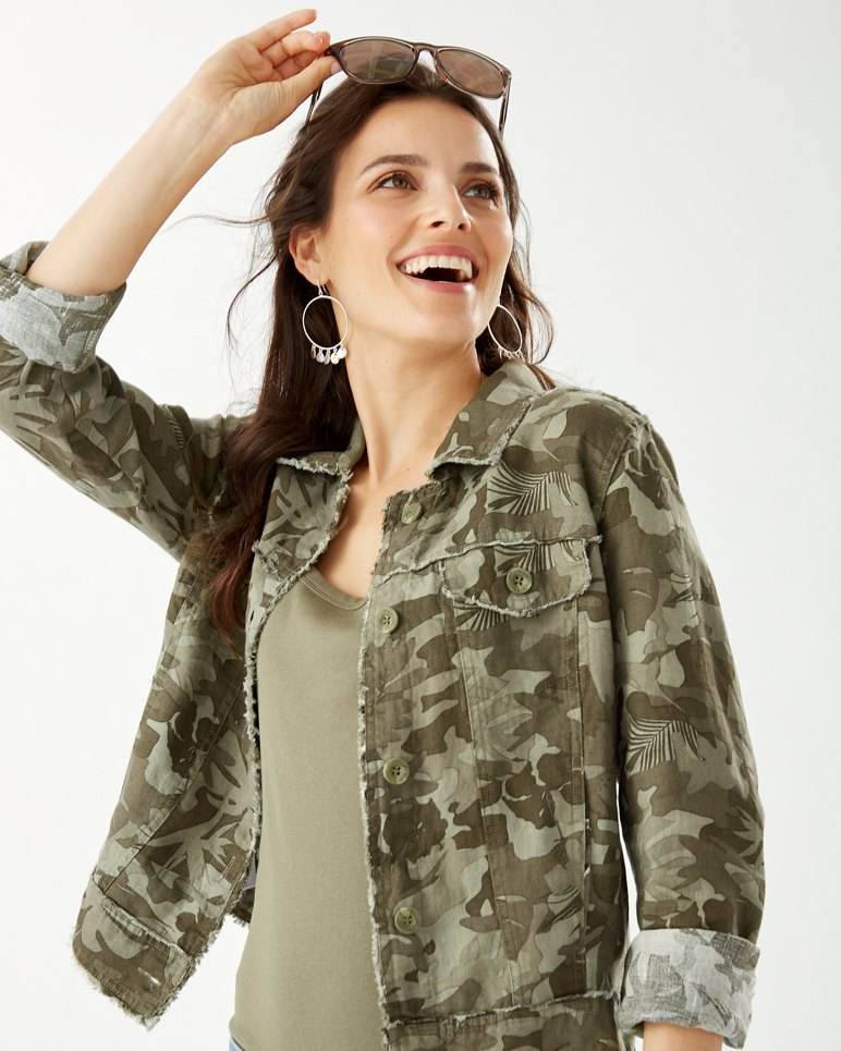 Main Image for Two Palms Linen Raw-Edge Camo Canyon Jacket