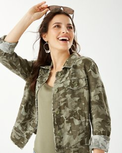 Two Palms Linen Raw-Edge Camo Canyon Jacket