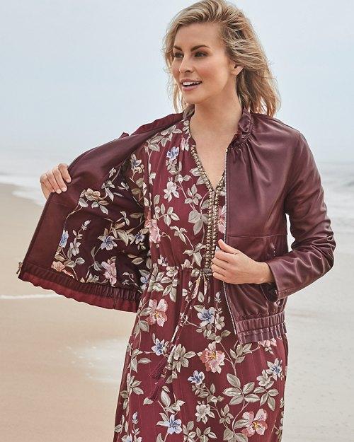 Katy Ruffle Leather Jacket