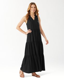 Lena Tiered Linen-Blend Maxi Dress