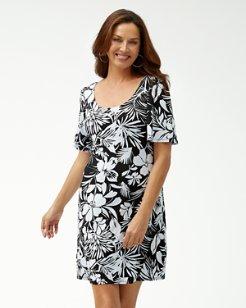 Buona Sera Tambour Flounce-Sleeve Dress