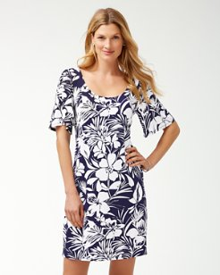 Buona Sera Tambour Flounce-Sleeve Dress