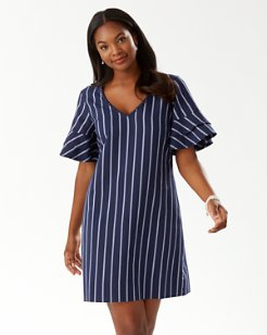 Vista Stripe Flutter Sleeve Dress