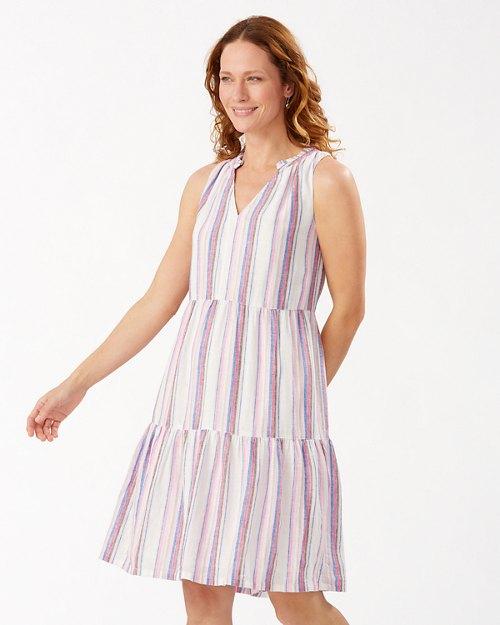 String Of Silver Linen-Blend Short Sundress
