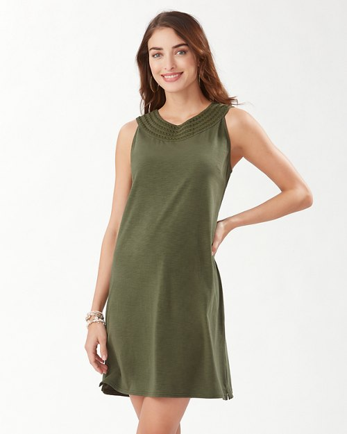 Embroidered Pearl Shift Dress