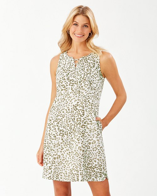 Wild One Lace-Up Linen Shift Dress