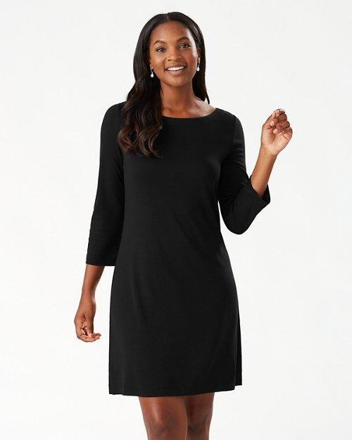 Drapey Ponte 3/4-Sleeve Dress