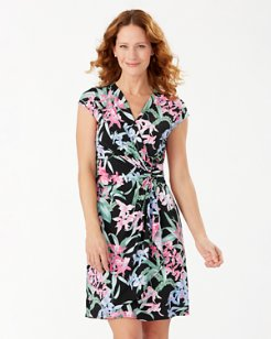Clara Orchid Isle Faux Wrap Dress
