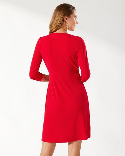 Clara Carmela 3/4-Sleeve Faux Wrap Dress