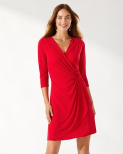 Clara Carmela 3/4-Sleeve Faux Wrap Dress
