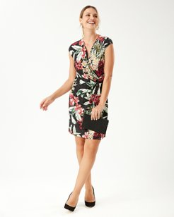 Clara Oceanic Orchid Faux Wrap Dress