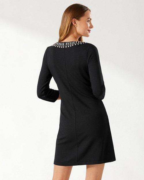 Darcy Beaded 3/4-Sleeve Dress