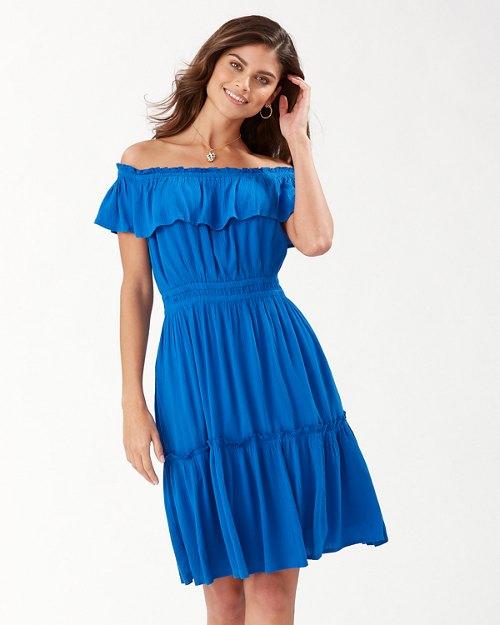 Caicos Crinkle Off-The-Shoulder Dress