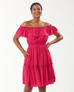 Caicos Crinkle Off-The-Shoulder Dress