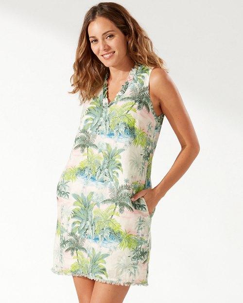 Island Hop Ruffle Linen Shift Dress