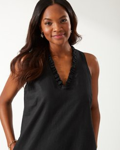 Two Palms Ruffle Linen Shift Dress