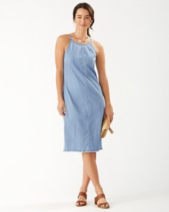 Stretch Chambray Midi Dress