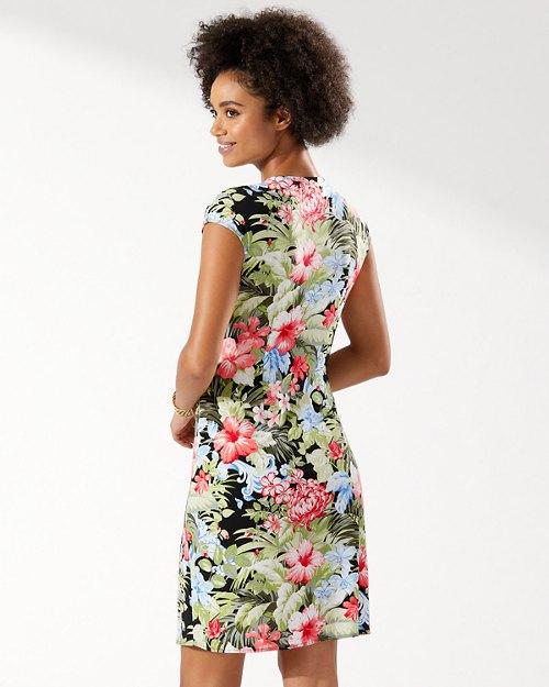 Clara Royal Botanic Faux-Wrap Dress