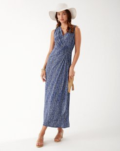 Clara Windswept Sleeveless Faux Wrap Maxi Dress
