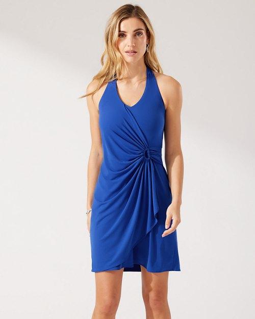 Clara Solid Halter Dress