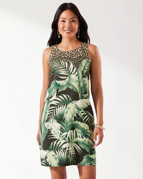 Palm Valley Sleeveless Silk Shift Dress