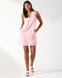 Cabana Stripe Ruffle Shift Linen Dress