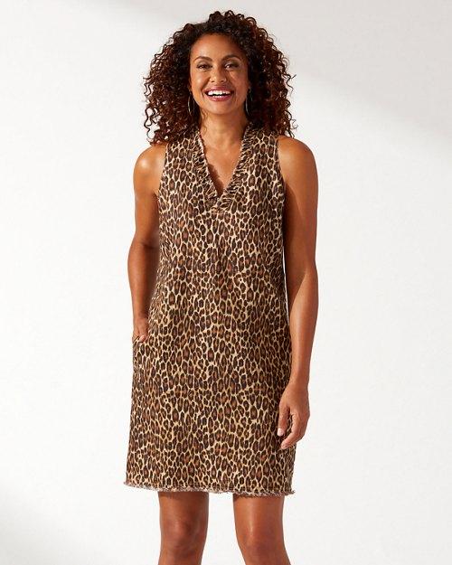 Cat's Meow Ruffle Linen Shift Dress
