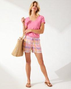 Boho Bliss Plaid Linen 5-Inch Shorts