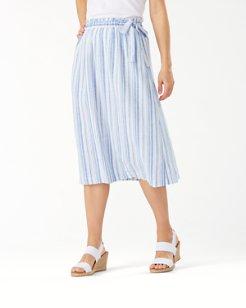 Shell Yea Stripe Linen-Blend Midi Skirt