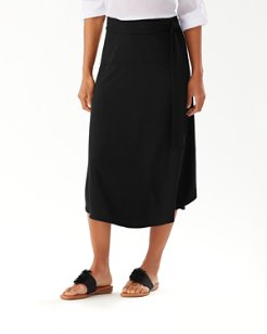 Solid Tambour Midi Skirt