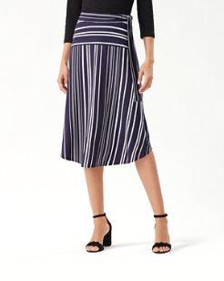 Anoche Stripe Tambour Midi Skirt