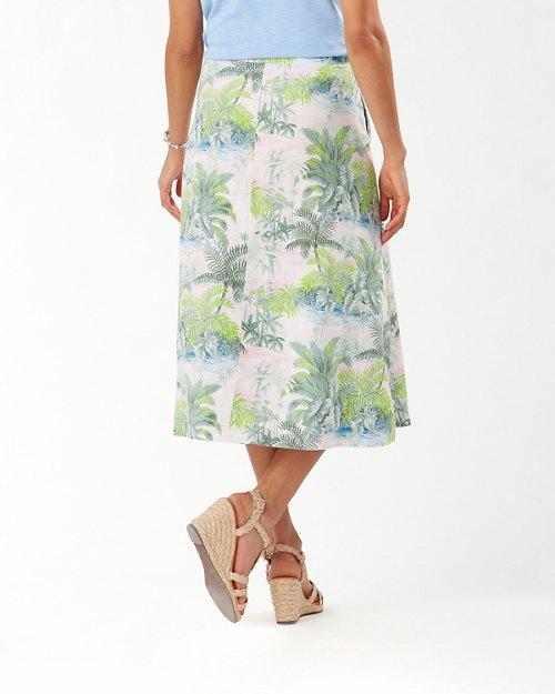 Island Hop Linen Midi Skirt