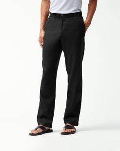 Beach Linen Elastic-Waist Pants
