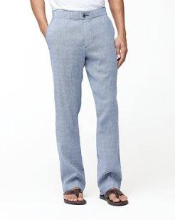 Beach Linen-Blend Elastic Waist Pants