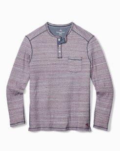 Indigo Stripe Palms Henley Shirt