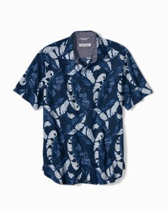 Lunar Leaves Stretch-Cotton Camp Shirt