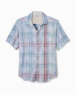 Palms Away Plaid Camp Shirt