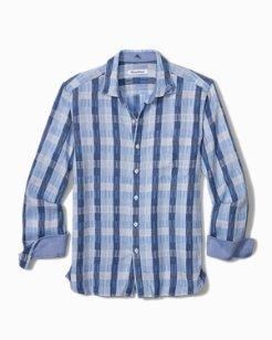 Puka Plaid Stretch-Linen Shirt