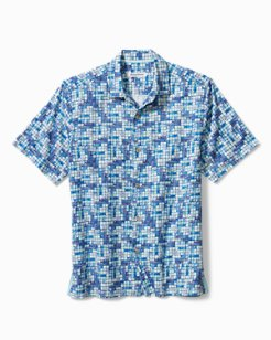 Poolside Tiles Stretch-Cotton Camp Shirt