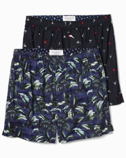 Big & Tall Tiny Trees & Big Leaves Woven Boxers - 2-Pack