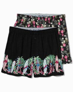 Surf Holiday & Floral Leaves Boxers - 2-Pack