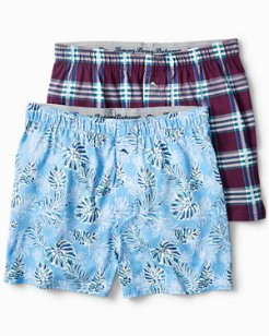 Plaid & Tropical Leaves Knit Boxers - 2 Pack